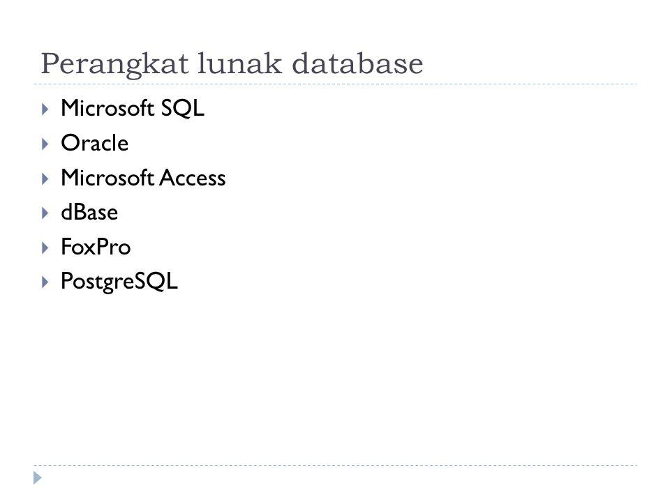 Bahasa database  Data Definition Language (DDL) Kumpulan perintah yang berfungsi untuk mendefinisikan database.