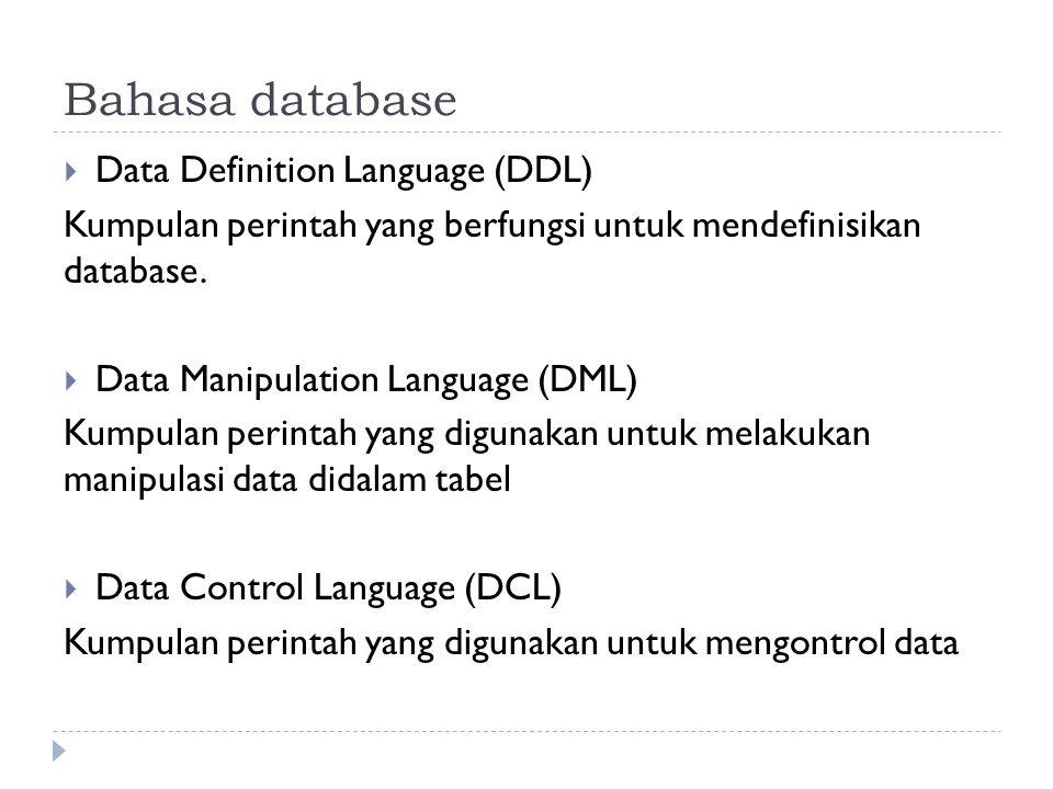 Entity Relationship Diagram (ERD)  Salah satu alat bantu dalam model database relasional yang berguna untuk menjelaskan hubungan atau relasi antartabel yang terdapat didalam database.