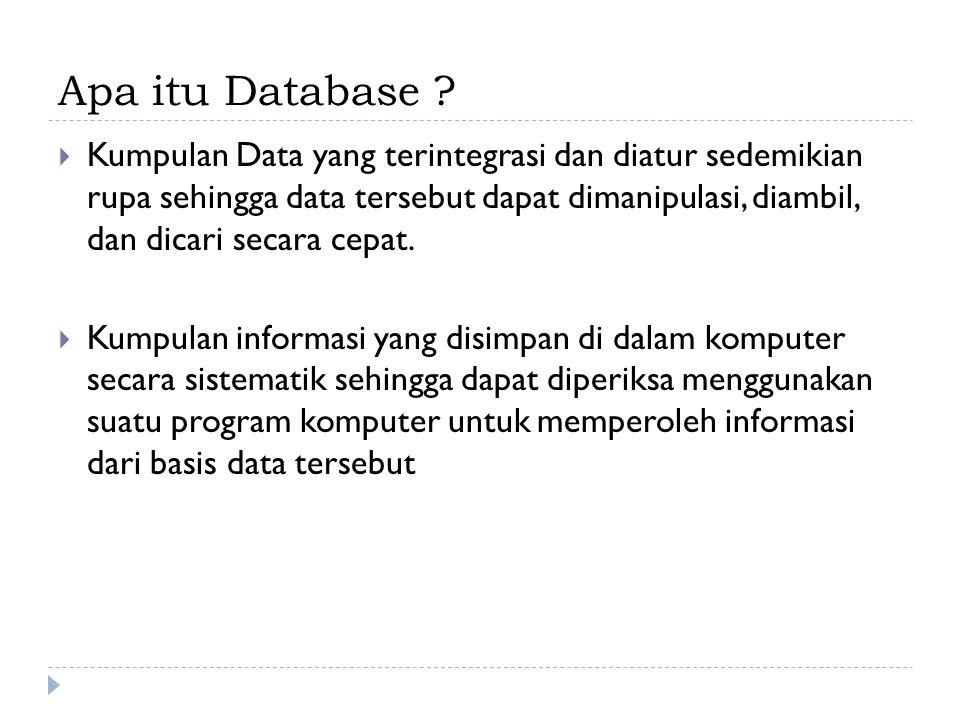 Model Database  Model Relasional : model database berdasarkan logika urutan pertama  Model Hierarkis : model data yang dimana data tersebut diatur dengan struktur data tree  Model Jaringan model database yang diyakini sebagai cara fleksibel mewakili objek dan hubungan mereka