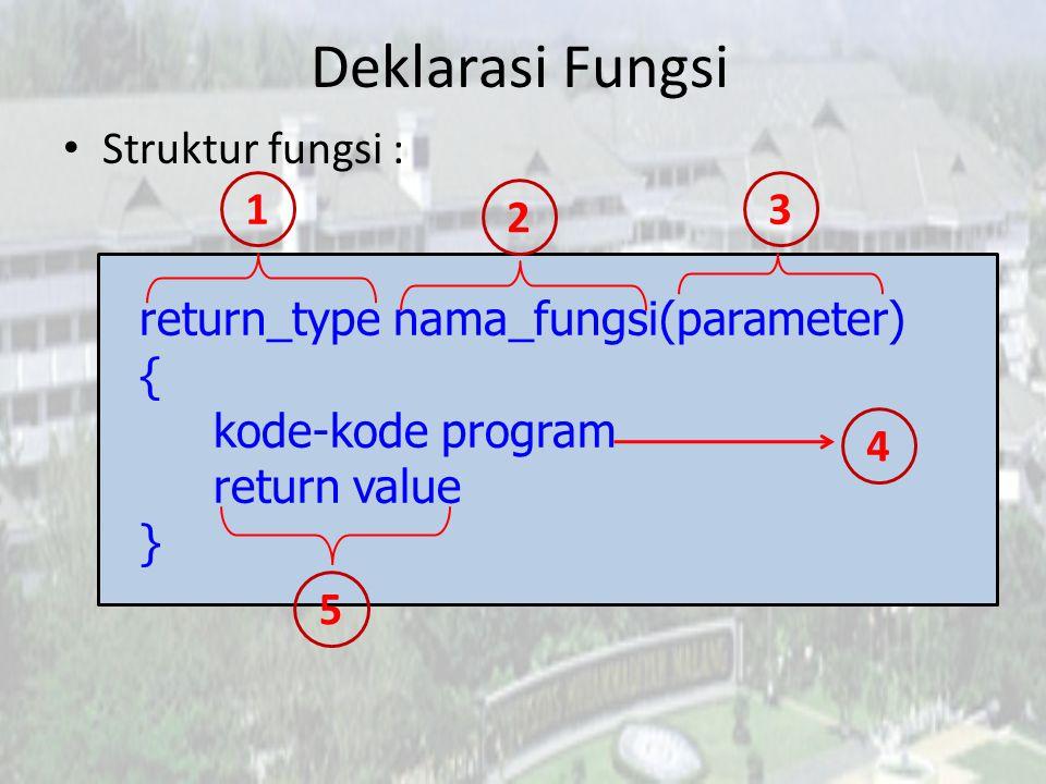 Return Type dan Return Value Return Type adalah tipe pengembalian, berupa tipe data (int, float, char, dll).