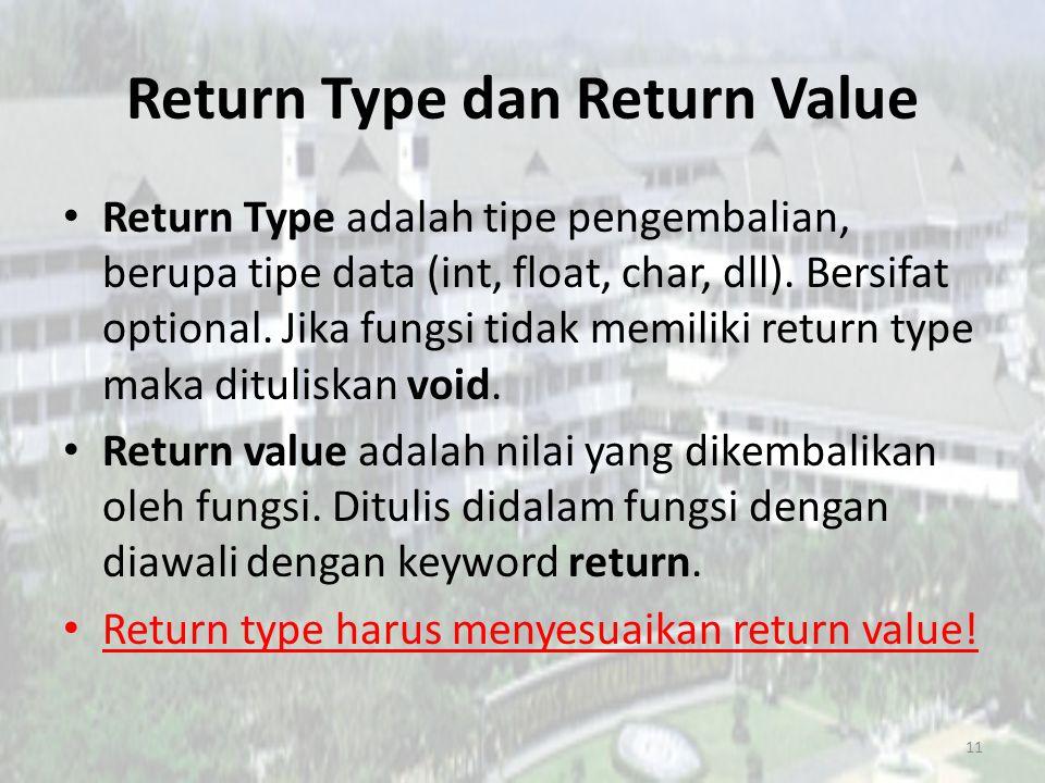 Contoh Penerapan Ketika return value berupa bilangan bulat, maka return type dapat diberikan int maupun long.