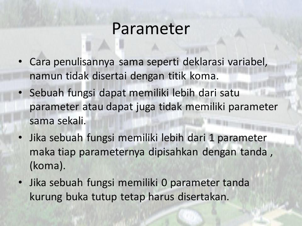 Contoh Penerapan Ketika fungsi tidak memiliki parameter void nama_fungsi() { kode-kode program }