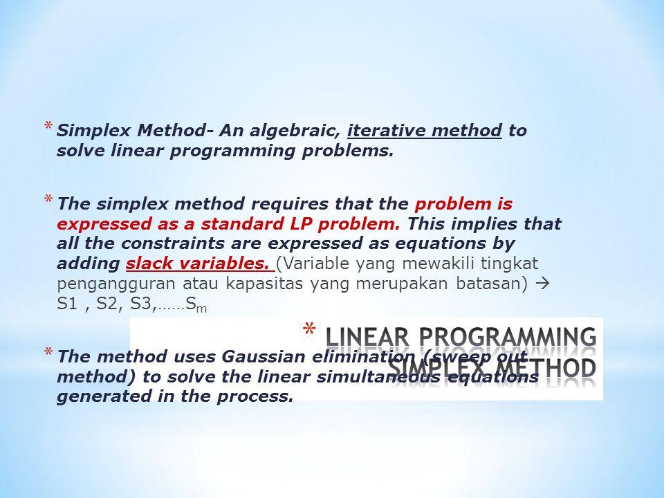 Metode simpleks merupakan prosedur aljabar yang bersifat iteratif yang bergerak selangkah demi selangkah, dimulai dari suatu titik ekstrem pada daerah fisibel menuju ke titik ekstrem yang optimum