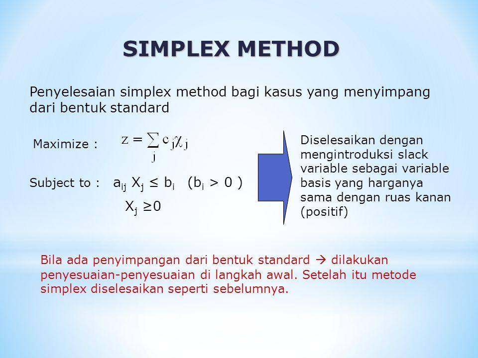 SIMPLEX METHOD Pendekatan standard :  Teknik menggunakan Variable buatan (artificial Variable) Memasukkan dummy variable (disebut artificial variable) ke dalam setiap batasan (constaints) yang memerlukan.