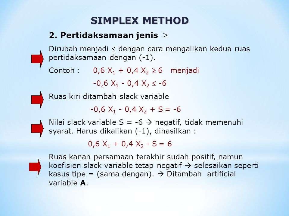 SIMPLEX METHOD 0,6 X 1 + 0,4 X 2 – S + A = 6 Artificial variable A dipakai sebagai variable basis awal (A=6).