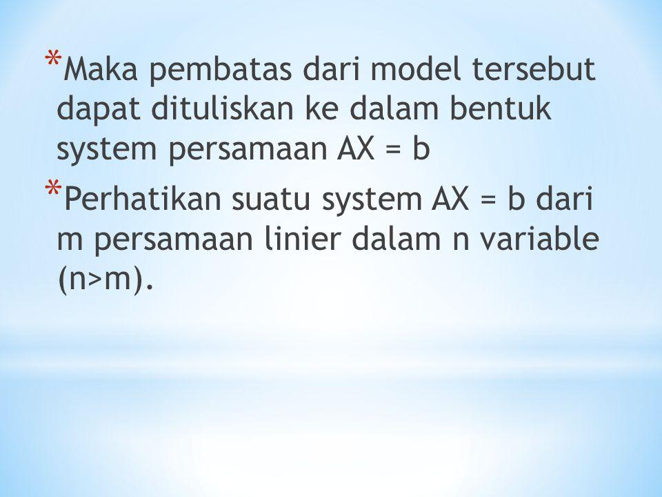 * Solusi Basis Solusi basis untuk AX = b adalah solusi dimana terdapat sebanyak-banyaknya m variabel berharga bukan nol.