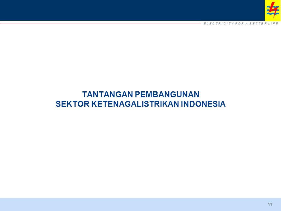 E L E C T R I C I T Y F O R A B E T T E R L I F E Tantangan Pembangunan Sektor Ketenagalistrikan Kondisi geografis Indonesia yang terdiri dari banyak pulau yang tersebar.