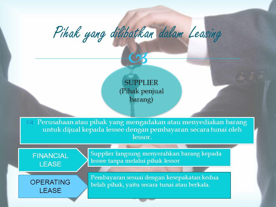  -Tidak terlibat secara langsung -Penyediaan dana kepada lessor  Leverage lease Pihak yang dilibatkan dalam Leasing BANK (Kreditor) BANK (Kreditor)