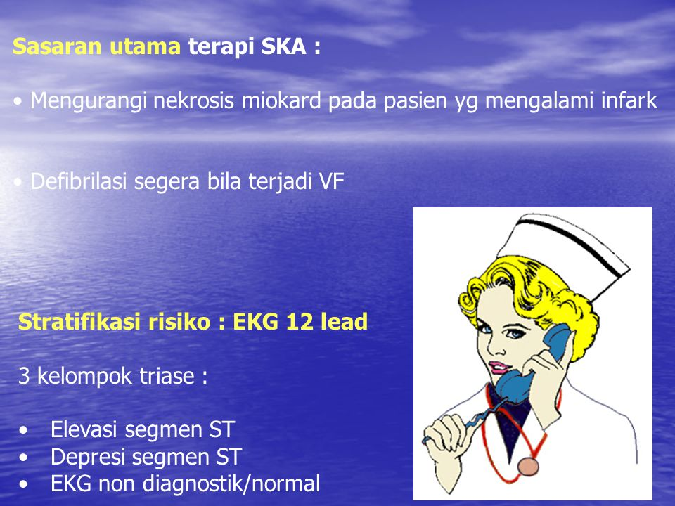 ER patient care Initial general treatment (memory aid: MONA greets all patients Initial general treatment (memory aid: MONA greets all patients –Morphine, 2-4 mg repeated q 5-10 min –Oxygen, 4 L/min; continue if S a O2 < 90% –NTG, SL or spray, followed by IV for persistent or recurrent discomfort –Aspirin, 160 to 325 mg (chew and swallow)