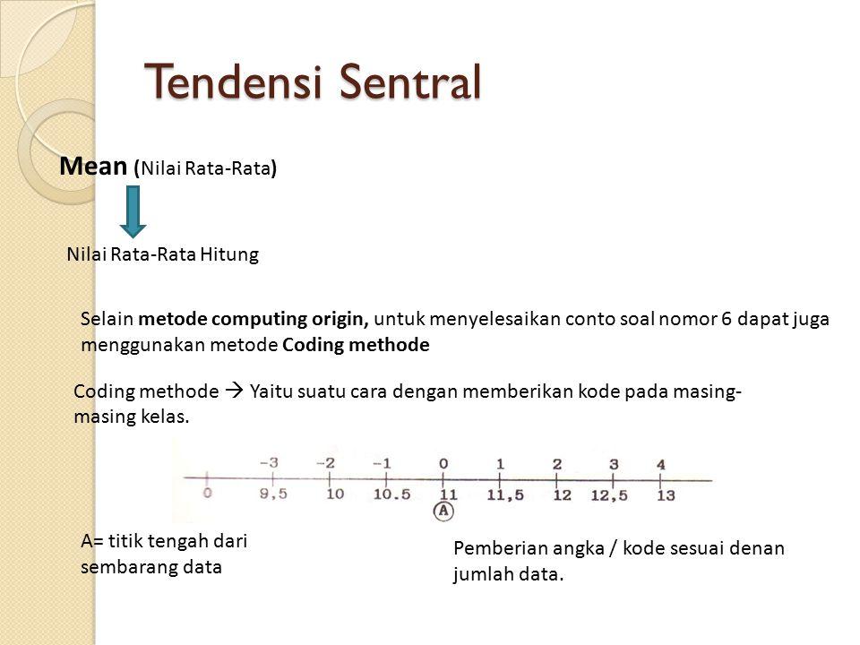 Tendensi Sentral Mean (Nilai Rata-Rata) Nilai Rata-Rata Hitung Sehingga didapatkan Dimana :X =Nilai rata-rata A = Titik tengah = titik asal baru n = Jumlah data Ui=Kode ke-I C = interval K = Jumlah kelas fi = Frekuensi kelas ke i