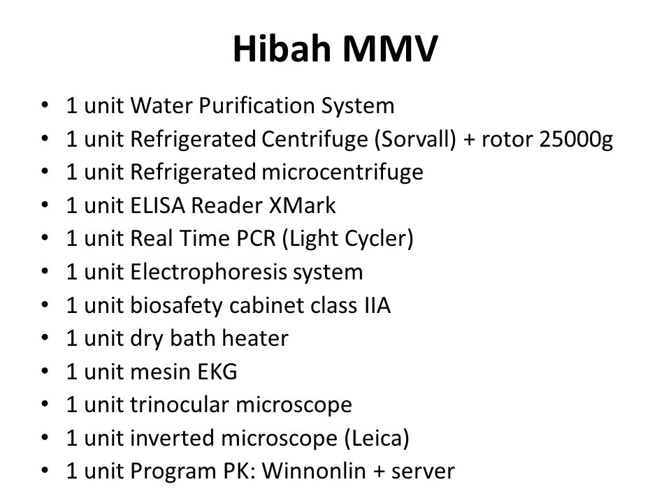Hibah MMV Autoclave CO2 incubator Laboratory oven Laminar air flow cabinet Gel doc XR system; Image Lab Spectronic Nanodrop Mini centrifuge spindown Balance UV Lamp & PDA Lamp for HPLC