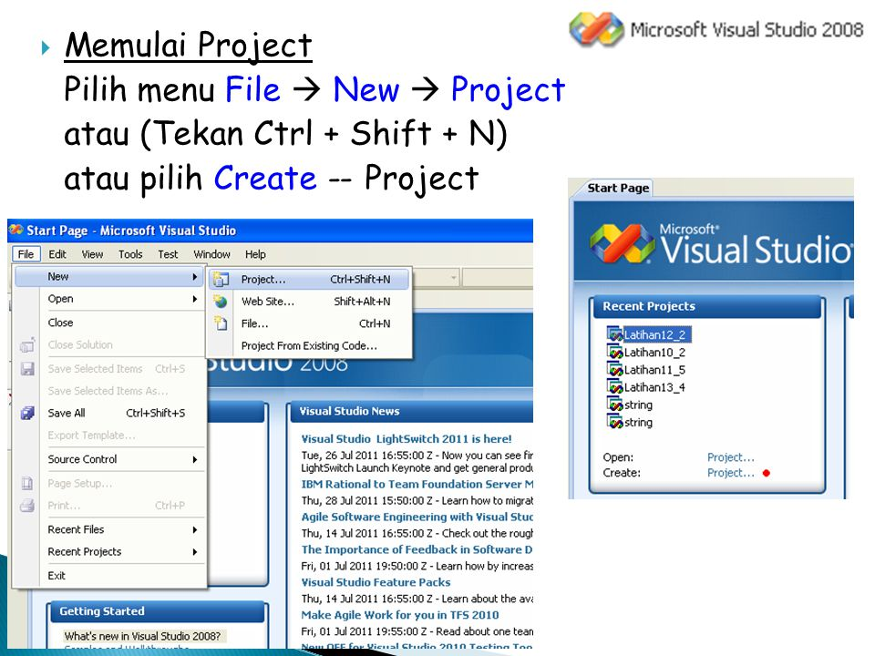 New Project Project types : Visual C++  Win32 Templates : Win32 Console Application