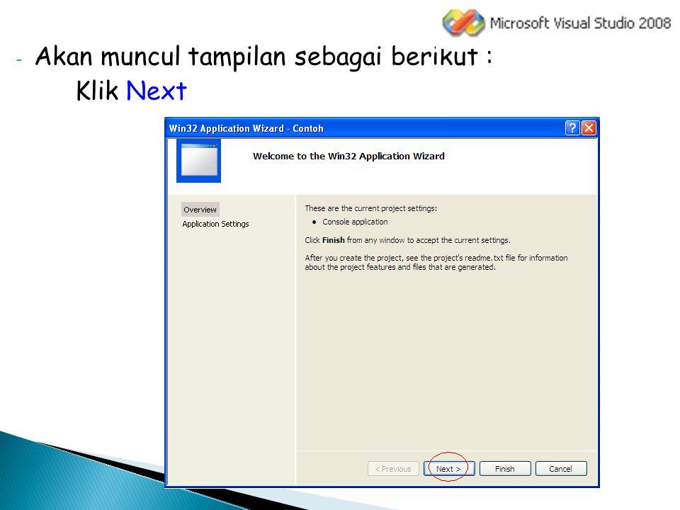 - Kemudian untuk Application type pilih Console application dan untuk Additional options pilih Empty project - Klik Finish