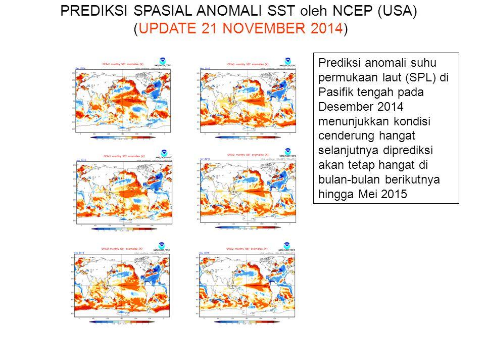 Prediksi Elnino/La Nina BMKG dan Institusi Internasional :  Indeks Nino34 bulan November 2014 diprediksi berada pada El Nino Lemah menurut NCEP (USA), JAMSTEC (Japan), POAMA (AUS) dan BMKG.