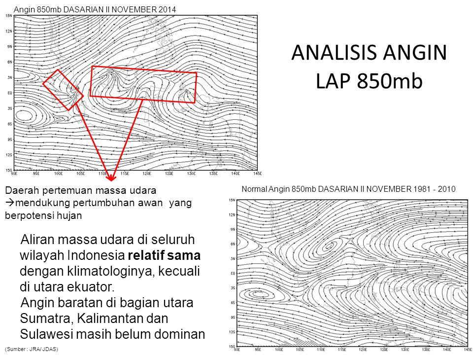 ANALISIS ANGIN ZONAL LAP 850mb Pola aliran massa udara komponen zonal (timur-barat) umumnya relatif sama dengan klimatologinya.