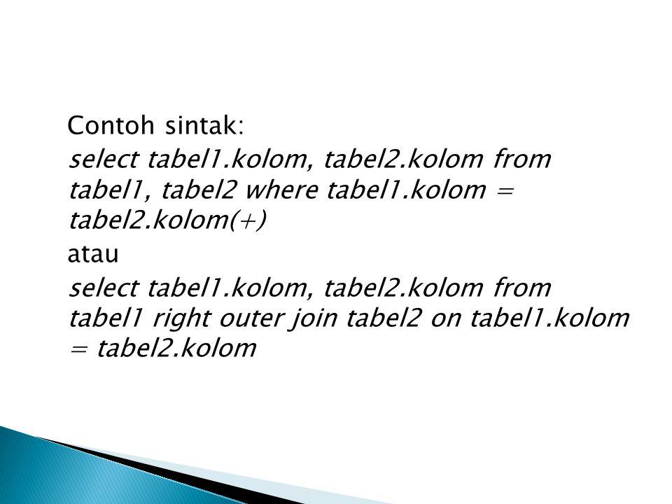  SELF JOIN Self join adalah suatu bentuk kondisi join tau penggabungan yang terjadi pada dua tabel yang sama kondisinya dari kedua tabel tersebut dan menambahkan suatu kata dengan kondisi yang sama antara kedua tabel.