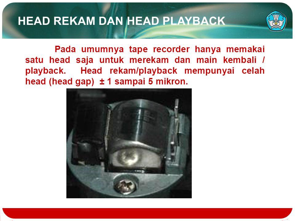 Teknologi dan Rekayasa Pada pesawat tape recorder head rekam berguna untuk mengubah getaran-getaran listrik informasi suara menjadi medan magnet yang terkonsentrasi pada head gap/celah head.