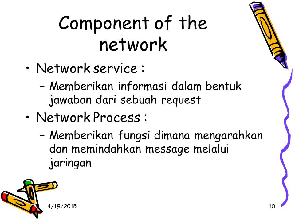 4/19/201511 Network Structure Define the components of a network –Network components hardware software