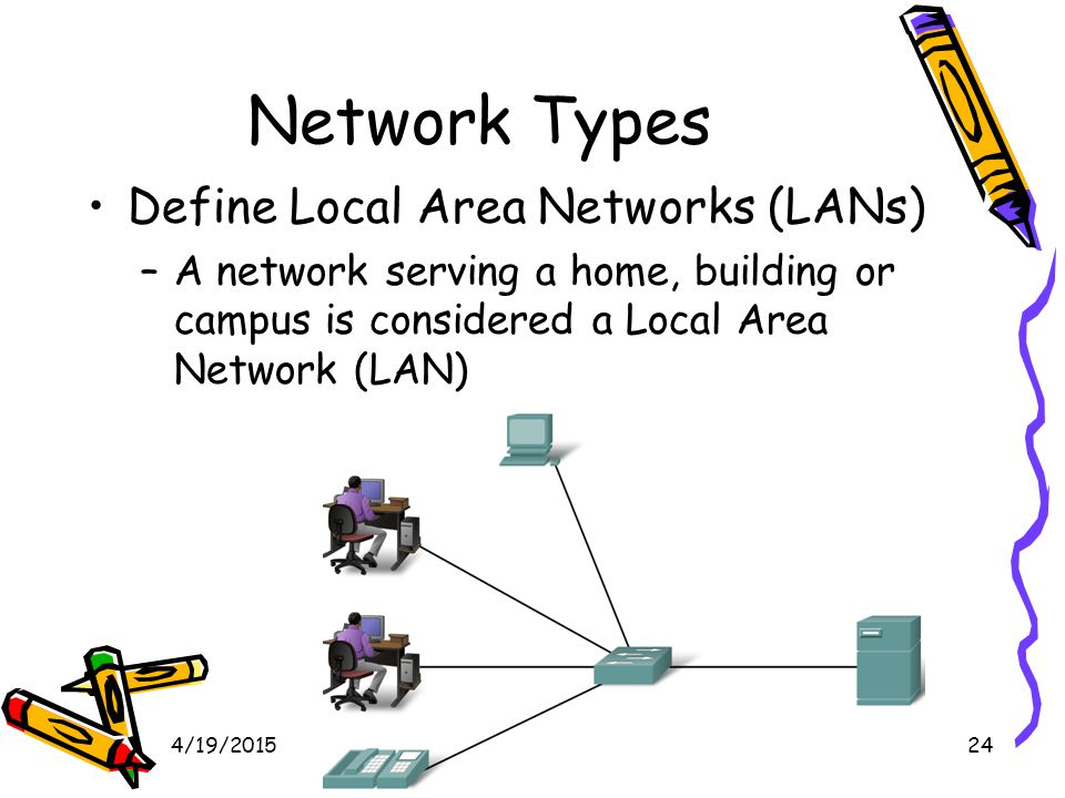 4/19/201525 Local Area Network Networks infrastructures can vary greatly in terms of: –The size of the area covered –The number of users connected –The number and types of services available