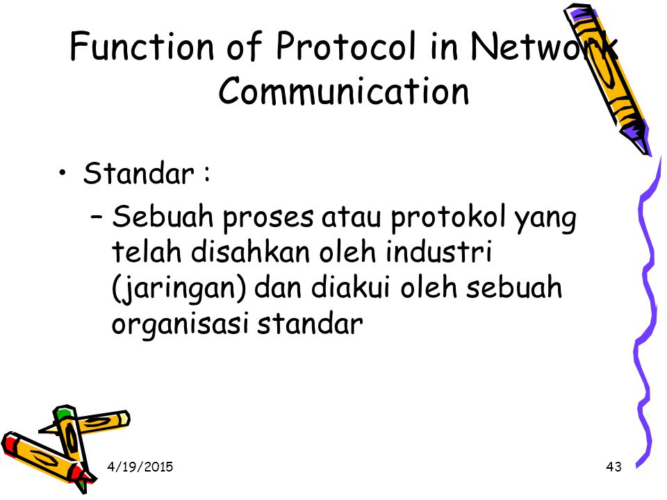 4/19/201544 Function of Protocol in Network Communication