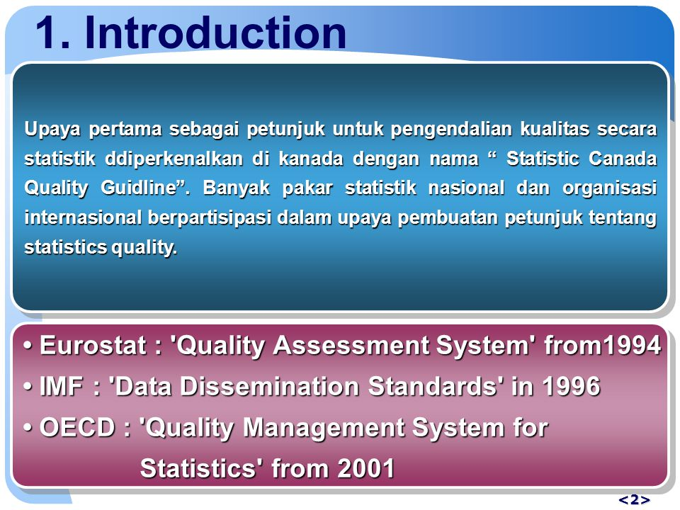 1.Introduction The mid-1990s In 1999 LaterLater QAT dipromosikan ke Quality Management Department.