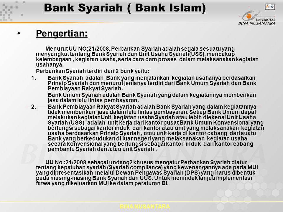 BINA NUSANTARA Bank Syariah ( Bank Islam) Kegiatan Usaha berdasarkan Prinsip Bank Syariah.