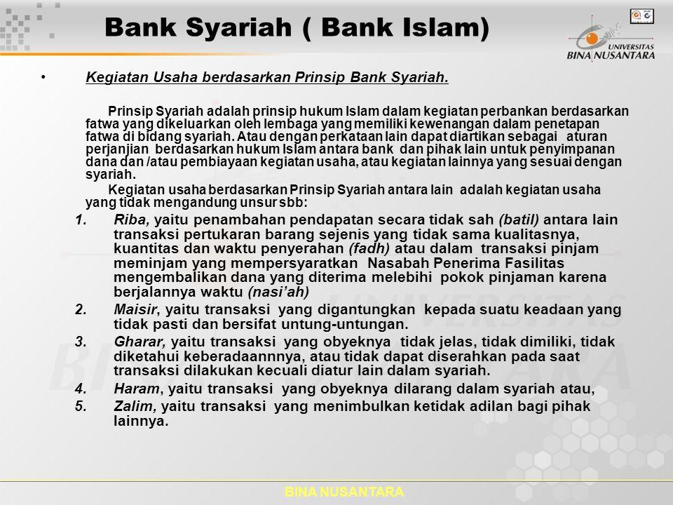 BINA NUSANTARA Bank Syariah ( Bank Islam) Produk Perbankan Syariah 1.