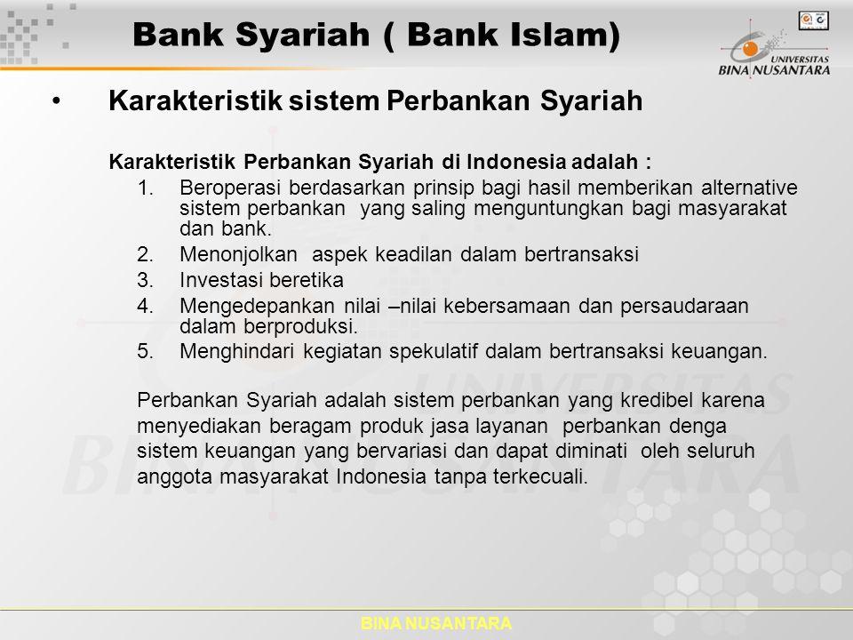 BINA NUSANTARA LARANGAN BAGI BANK SYARIAH dan UUS Bank Syariah dilarang ( pasal 24, UU NO;21/2008): 1.Melakukan kegiatan usaha yang bertentangan dengan Prinsip Syariah.