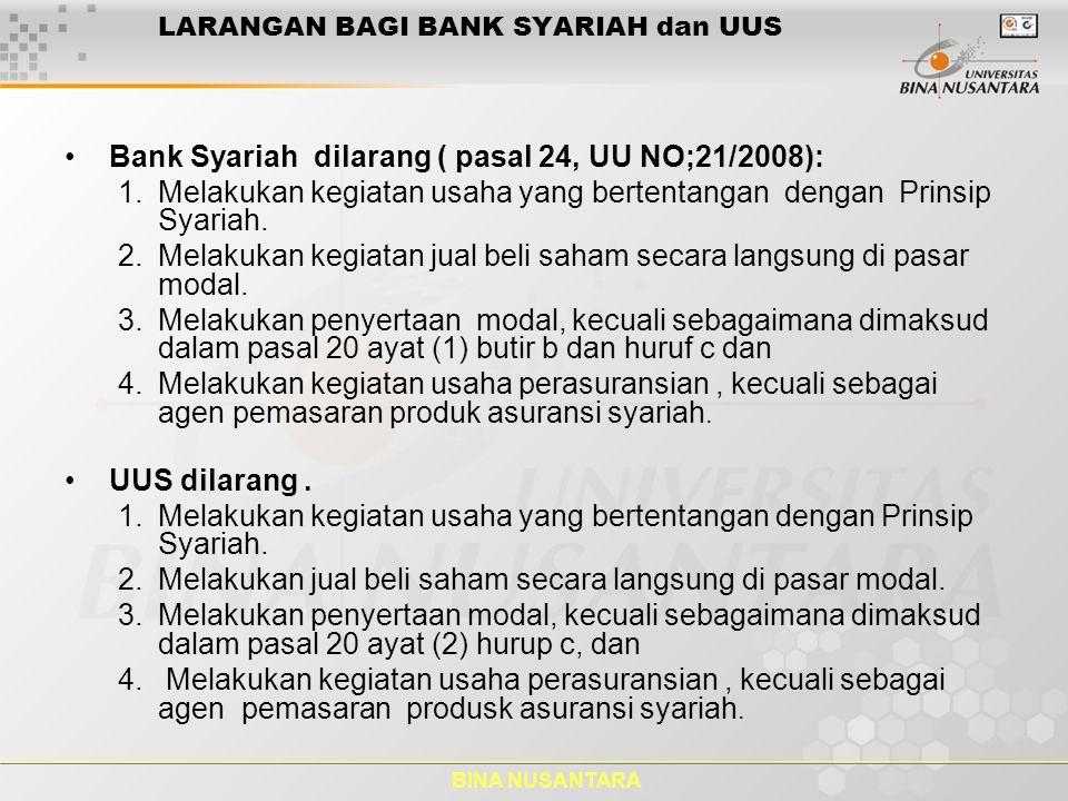 BINA NUSANTARA Bank Syariah ( Bank Islam) Bank Pembiayaan Rakyat Syariah dilarang ( pasal 25, UU NO:21/2008).