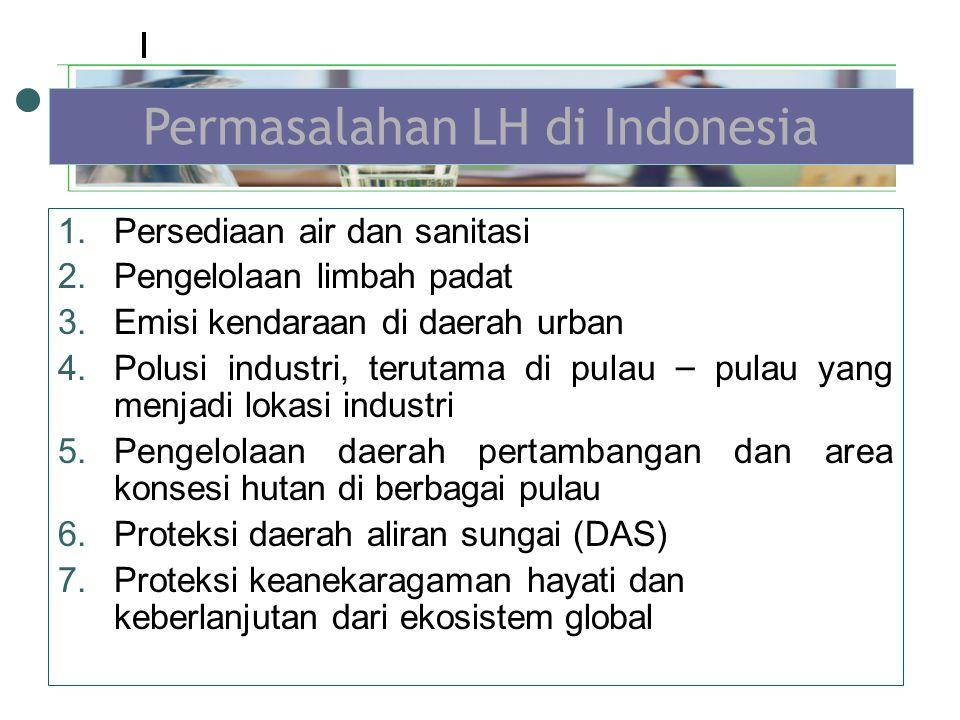 1.Persediaan air dan sanitasi 2.Pengelolaan limbah padat 3.Emisi kendaraan di daerah urban 4.Polusi industri, terutama di pulau – pulau yang menjadi lokasi industri 5.Pengelolaan daerah pertambangan dan area konsesi hutan di berbagai pulau 6.Proteksi daerah aliran sungai (DAS) 7.Proteksi keanekaragaman hayati dan keberlanjutan dari ekosistem global Permasalahan LH di Indonesia