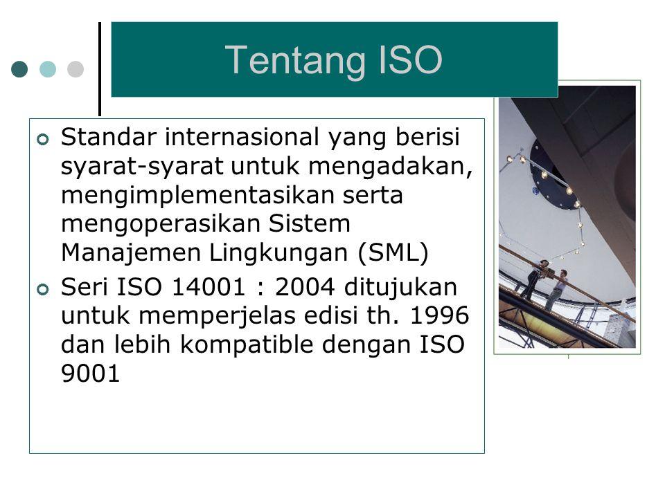 Standar internasional yang berisi syarat-syarat untuk mengadakan, mengimplementasikan serta mengoperasikan Sistem Manajemen Lingkungan (SML) Seri ISO 14001 : 2004 ditujukan untuk memperjelas edisi th.