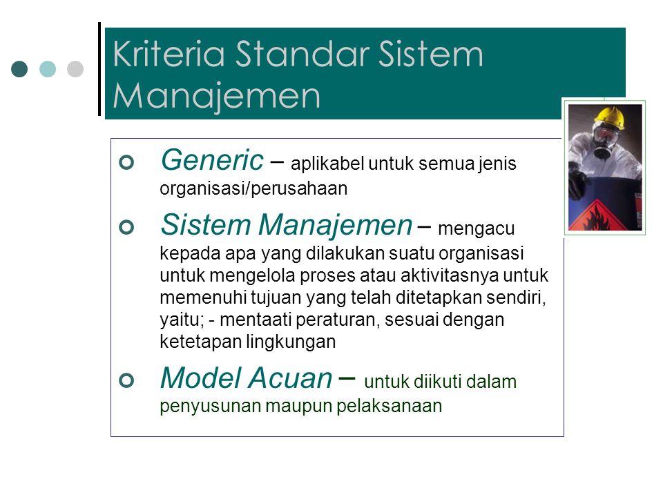 Kriteria Standar Sistem Manajemen Generic – aplikabel untuk semua jenis organisasi/perusahaan Sistem Manajemen – mengacu kepada apa yang dilakukan suatu organisasi untuk mengelola proses atau aktivitasnya untuk memenuhi tujuan yang telah ditetapkan sendiri, yaitu; - mentaati peraturan, sesuai dengan ketetapan lingkungan Model Acuan – untuk diikuti dalam penyusunan maupun pelaksanaan
