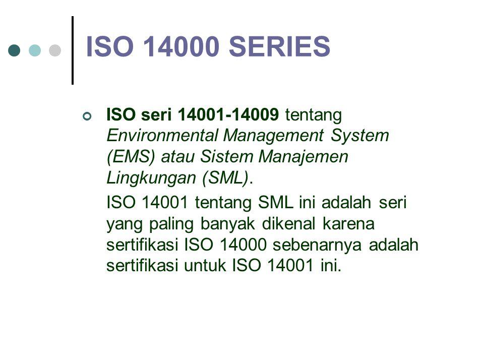 ISO 14000 SERIES ISO seri 14001-14009 tentang Environmental Management System (EMS) atau Sistem Manajemen Lingkungan (SML).