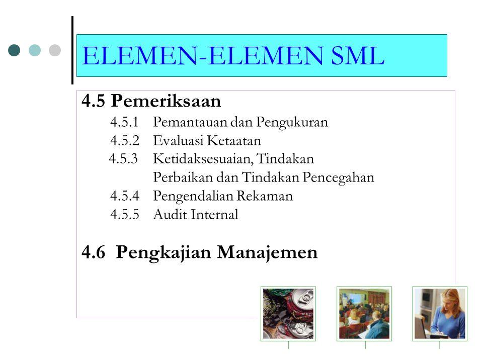ELEMEN-ELEMEN SML 4.5 Pemeriksaan 4.5.1 Pemantauan dan Pengukuran 4.5.2 Evaluasi Ketaatan 4.5.3 Ketidaksesuaian, Tindakan Perbaikan dan Tindakan Pencegahan 4.5.4 Pengendalian Rekaman 4.5.5 Audit Internal 4.6 Pengkajian Manajemen