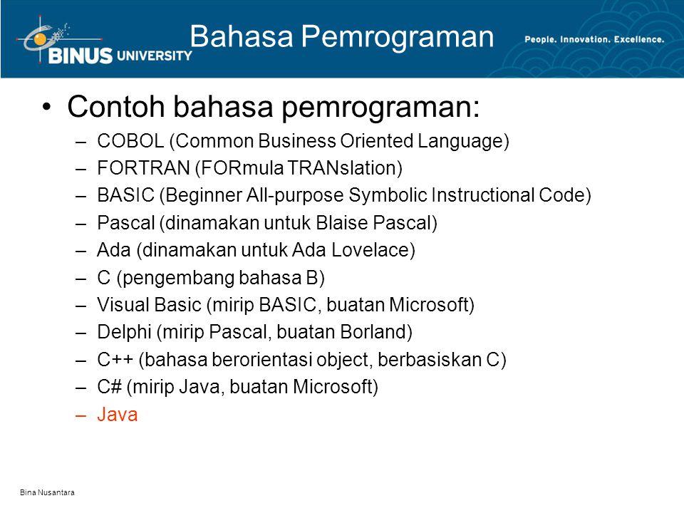 Bina Nusantara Pengekspresian Algoritma Alur pengekspresian algoritma dituangkan secara tertulis –Alur pengekspresian: alur pemikiran, sehingga algoritma setiap orang berbeda –Tertulis: algoritma berupa tulisan/kalimat, gambar, atau tabel Algoritma dapat melalui beberapa metode: –Tulisan/kalimat: pseudocode –Gambar: Flowchart –Tabel: NS Diagram