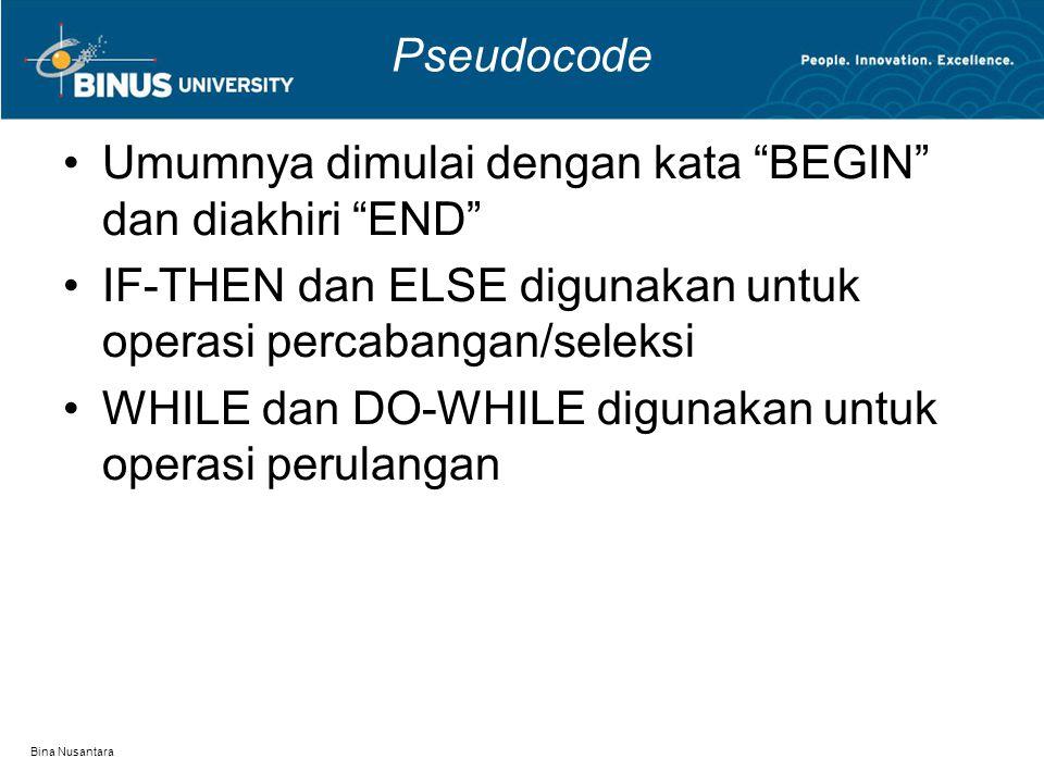 Bina Nusantara Pseudocode BEGIN Hold up the phone WHILE not dial Press dial button WHILE not connected Waiting dial IF connected THEN WHILE not finish Talking Hold down the phone END Contoh pseudocode untuk melakukan panggilan melalui telepon: