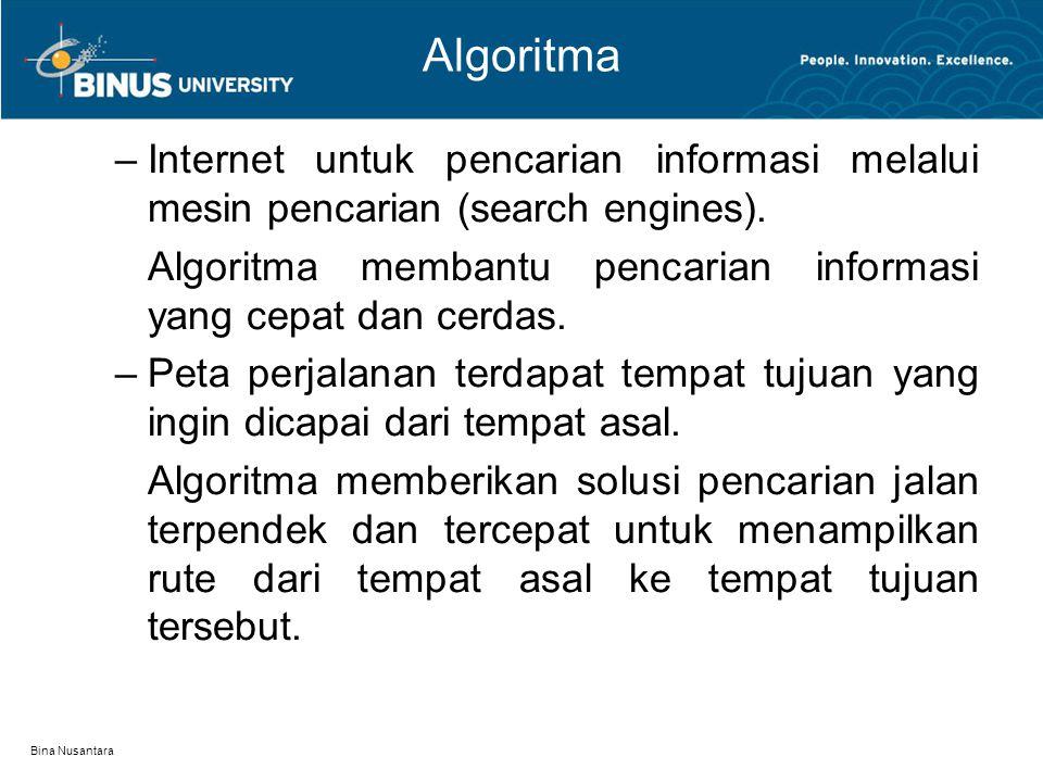 Bina Nusantara Kriteria Algoritma Input: algoritma dapat memiliki nol atau lebih inputan dari luar.