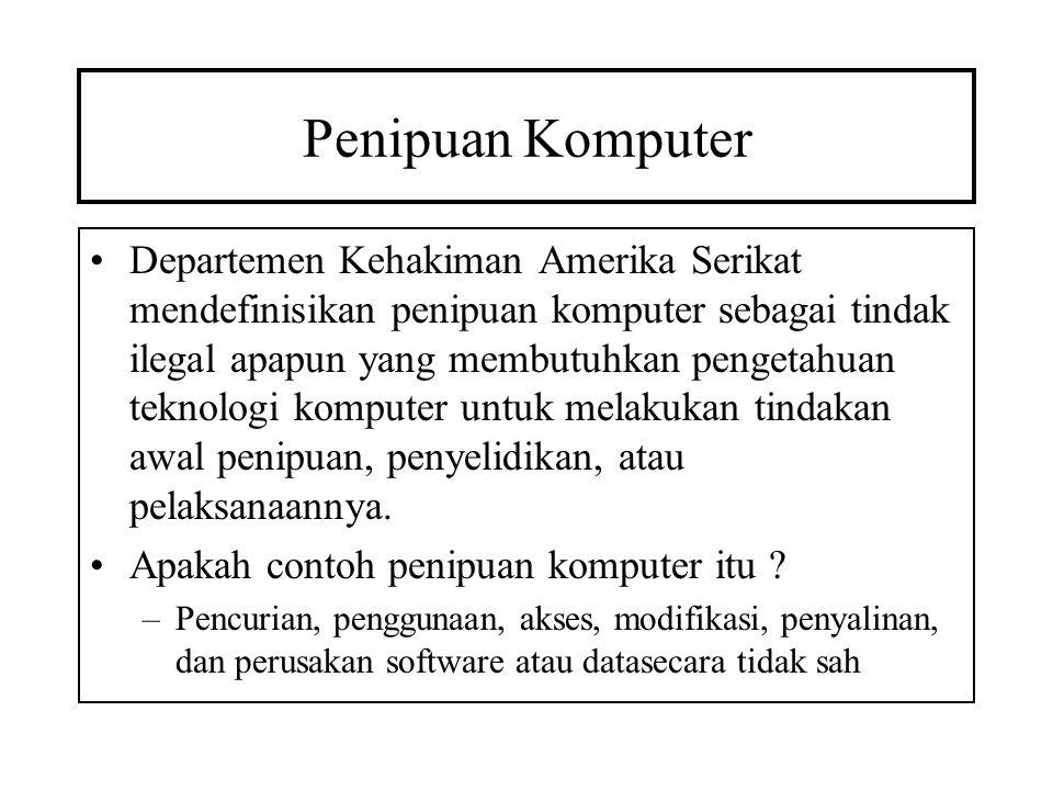 Penipuan Komputer –Pencurian uang dengan mengubah catatan komputer atau pencurian waktu komputer –Pencurian atau perusakan hardware komputer –Penggunaan atau konpirasi untuk menggunakan sumber daya komputer dalam melakukan tindak pidana –Keinginan untuk secara ilegal mendapatkan informasi atau properti berwujud melalui penggunaan komputer