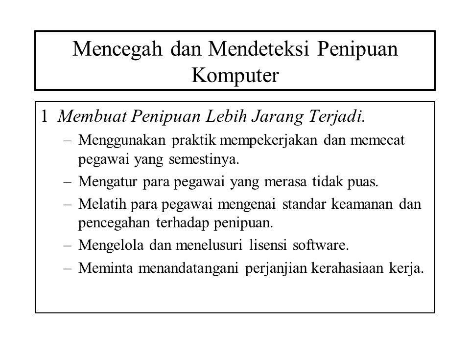 Mencegah dan Mendeteksi Penipuan Komputer 2Meningkatkan Kesulitan untuk Melakukan Penipuan.