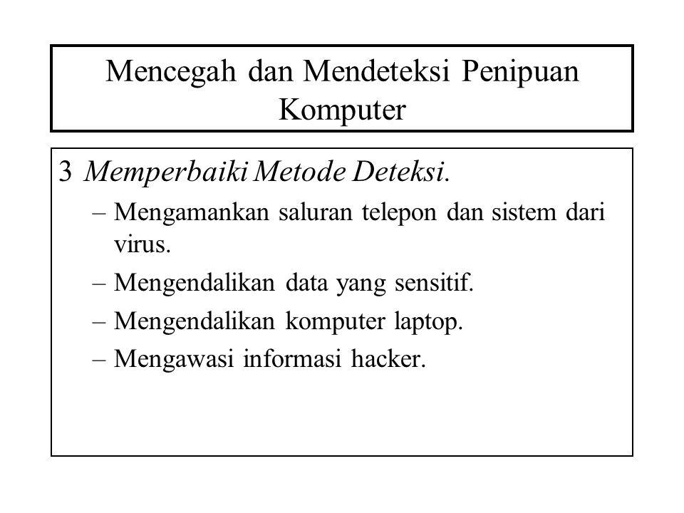 Mencegah dan Mendeteksi Penipuan Komputer 4Mengurangi kerugian akibat penipuan.