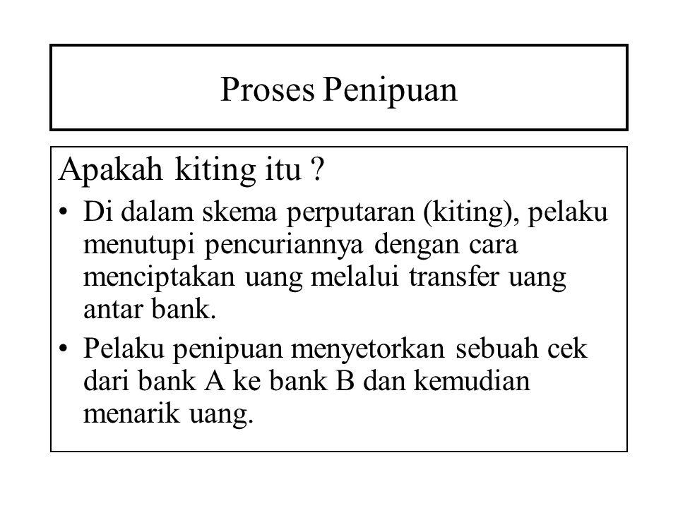 Proses Penipuan Ketika ada dana di bank A tidak cukup untuk menutup cek, maka pelaku memasukkan cek dari bank C ke bank A sebelum ceknya ke bank B dikliring.