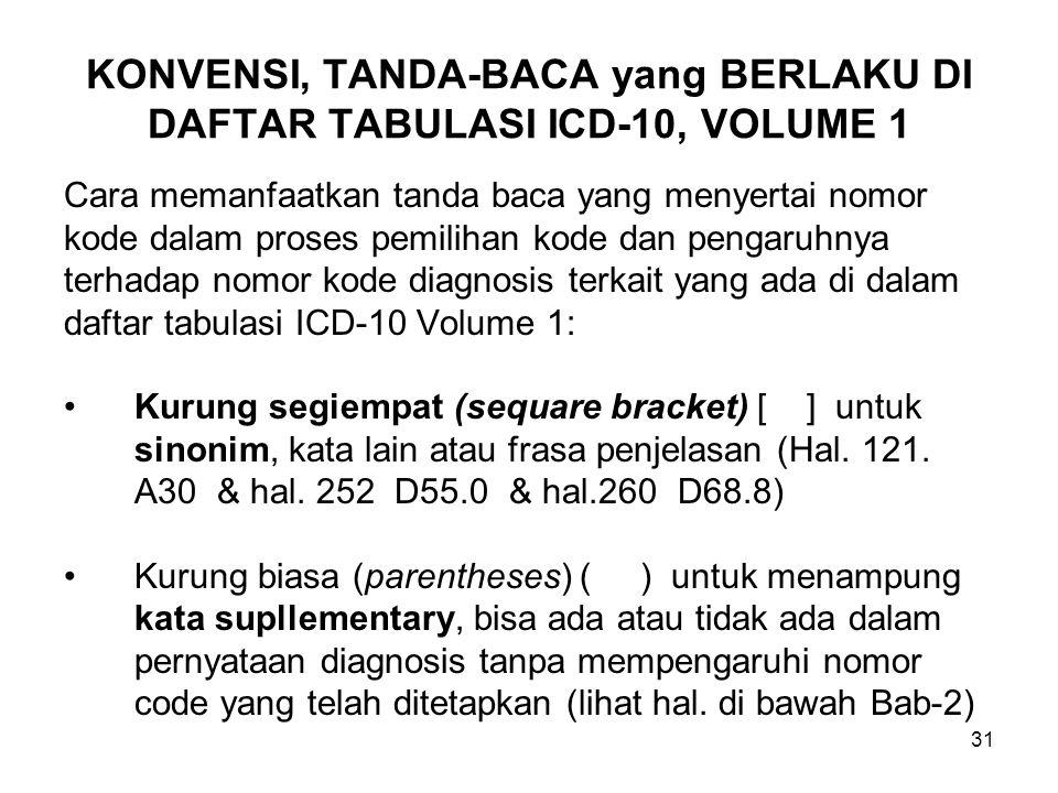 32 KONVENSI, TANDA-BACA (Lanjutan-1) Kurung kurawa } digunakan seperti pada biasanya (untuk memberi tanda menggabungkan) (lihat 113 pada A15) Kata diikuti oleh tanda baca titik-titik (:) (colon) menandakan istilah sebutan diagnose belum lengkap, harus ditambah dengan satu atau kata modifier lain agar sesuai dengan apa yang dimaksud pada code yang tersedia.