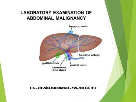 LABORATORY EXAMINATION OF ABDOMINAL MALIGNANCY Dr.. dr.Siti Muchayat, MS, Sp PK (K)