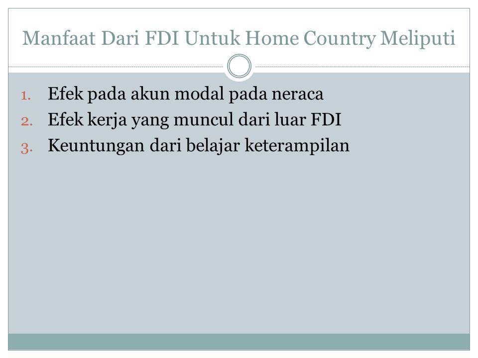 Ada beberapa biaya utama FDI untuk Home Country 1.