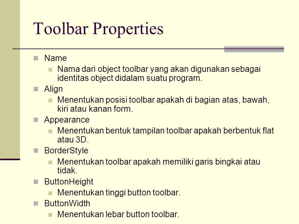 Toolbar Properties Enabled Mengatur toolbar apakah dapat digunakan atau tidak pada saat program dijalankan.