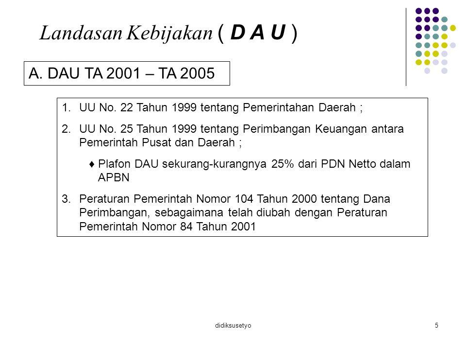didiksusetyo6 B.DAU TA 2006 – 1.UU No. 32 Tahun 2004 tentang Pemerintahan Daerah; 2.UU No.
