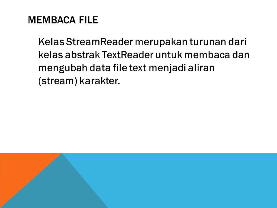 MEMBACA FILE Beberapa Anggota kelas abstrak TextReader :