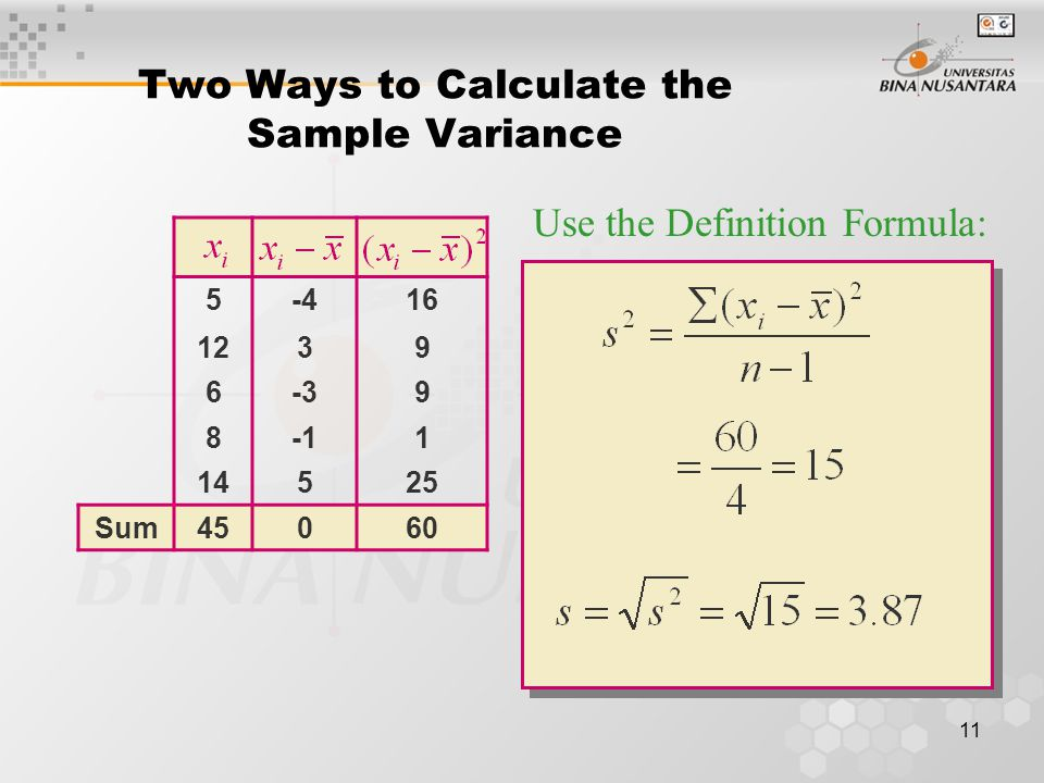 12 Two Ways to Calculate the Sample Variance 525 12144 636 864 14196 Sum45465 Use the Calculational Formula: