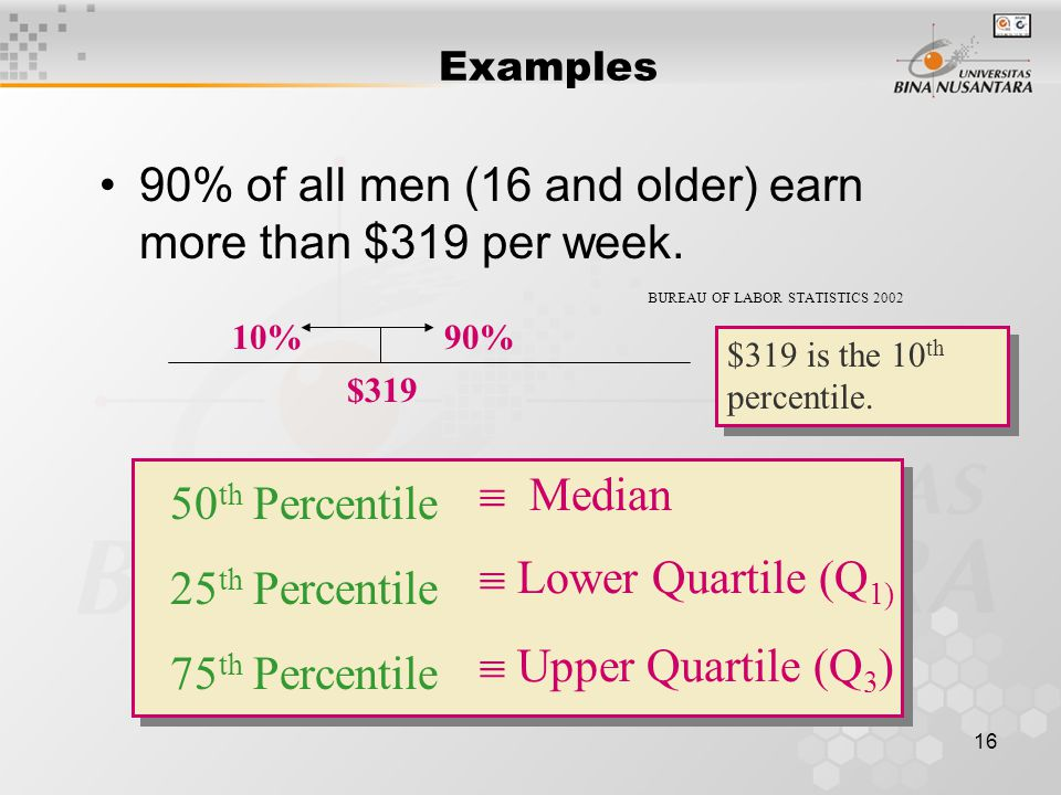 17 lower quartile (Q 1 )The lower quartile (Q 1 ) is the value of x which is larger than 25% and less than 75% of the ordered measurements.
