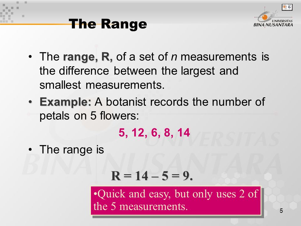 6 The Variance varianceThe variance is measure of variability that uses all the measurements.